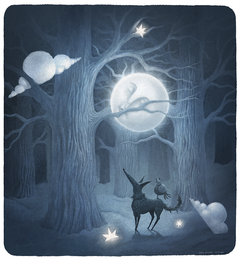 Franck Dion moon on a tree